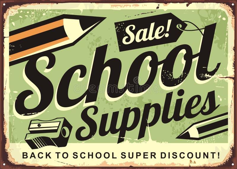 Tecken för försäljning för skolatillförsel retro annonserande stock illustrationer