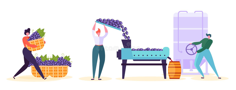 Tecken för fabrik för rött vinproduktion - uppsättning Vinodlingprocesslinje Infographic samling Vinproducent Woman Fermentation royaltyfri illustrationer