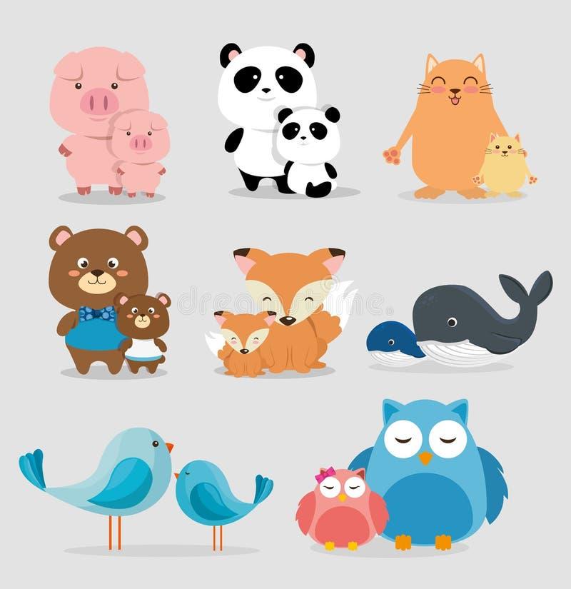 Tecken för familjdjurgrupp vektor illustrationer