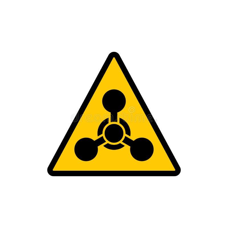 Tecken för fara för gul triangelvarning kemiskt Kemisk klistermärke för symbol för faravarningsvektor vektor illustrationer