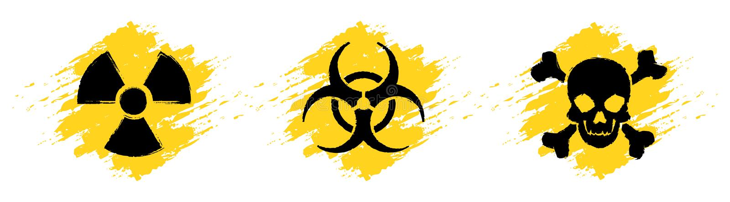 Tecken för faragrungevektor Utstrålningstecken, Biohazardtecken, giftligt tecken, gifttecken stock illustrationer