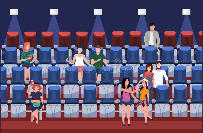 Tecken för film för folk som hållande ögonen på tillfälliga äter snabbmat med sodavatten som framlänges sitter på modern bioinre  vektor illustrationer