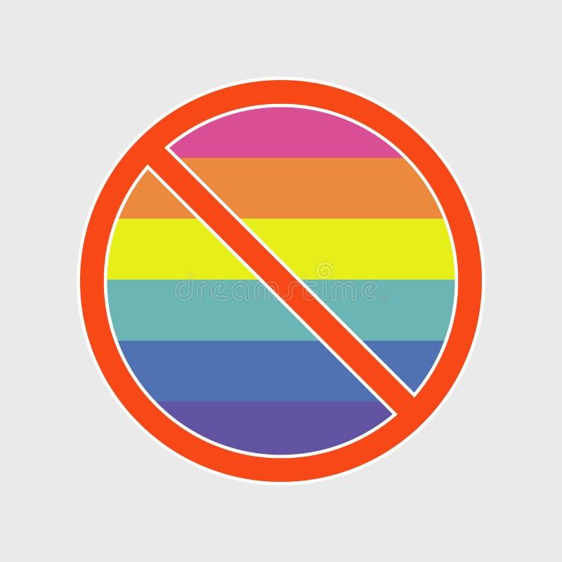 Tecken för flagga LGBT INGEN vektorillustration vektor illustrationer