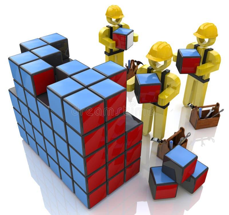 tecken för folk 3d, i konstruktionshjälmar som bygger kuber vektor illustrationer