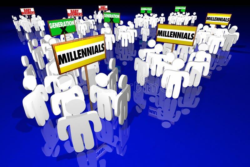 Tecken för folk för person född under en baby boom för Millennials utveckling X stock illustrationer