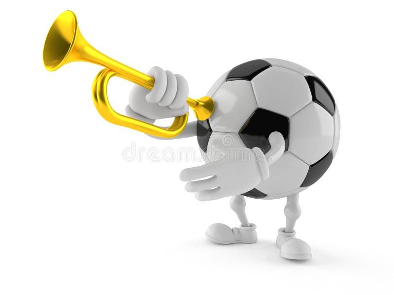 Tecken för fotbollboll som spelar trumpeten stock illustrationer