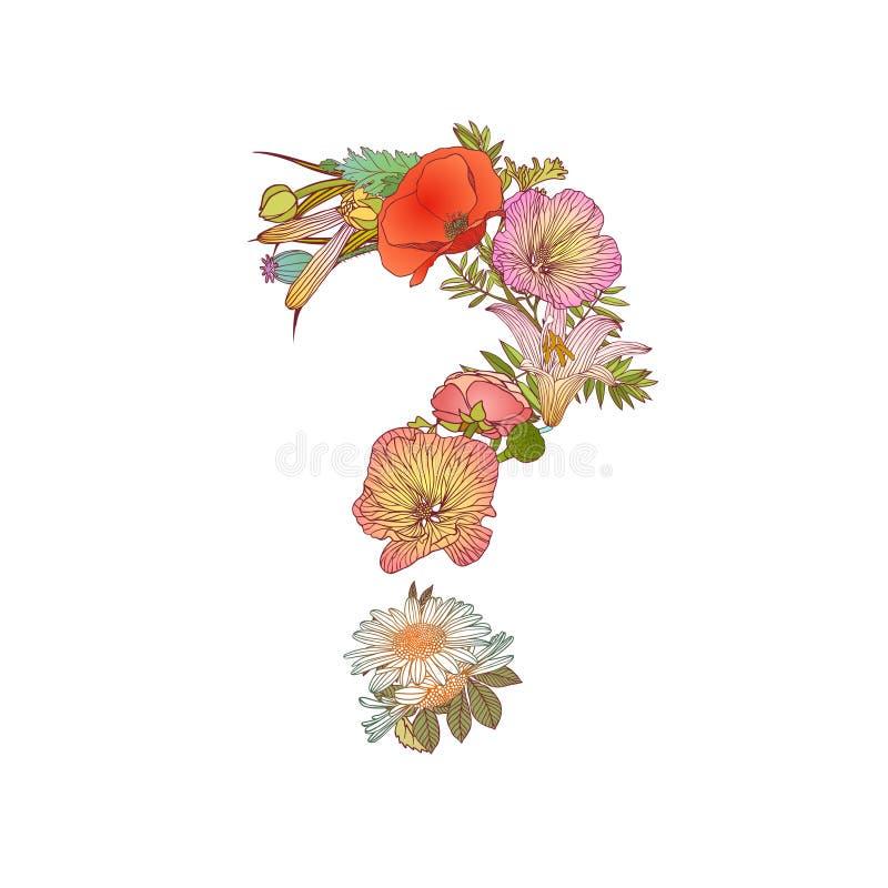 Tecken för frågefläck av blommor vektor illustrationer