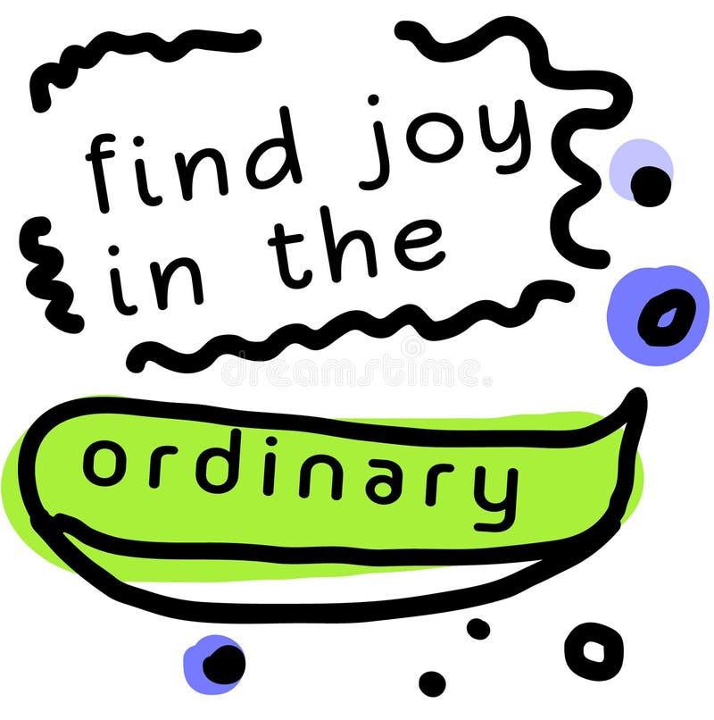 Tecken för fyndJoy In The Ordinary citationstecken royaltyfri illustrationer