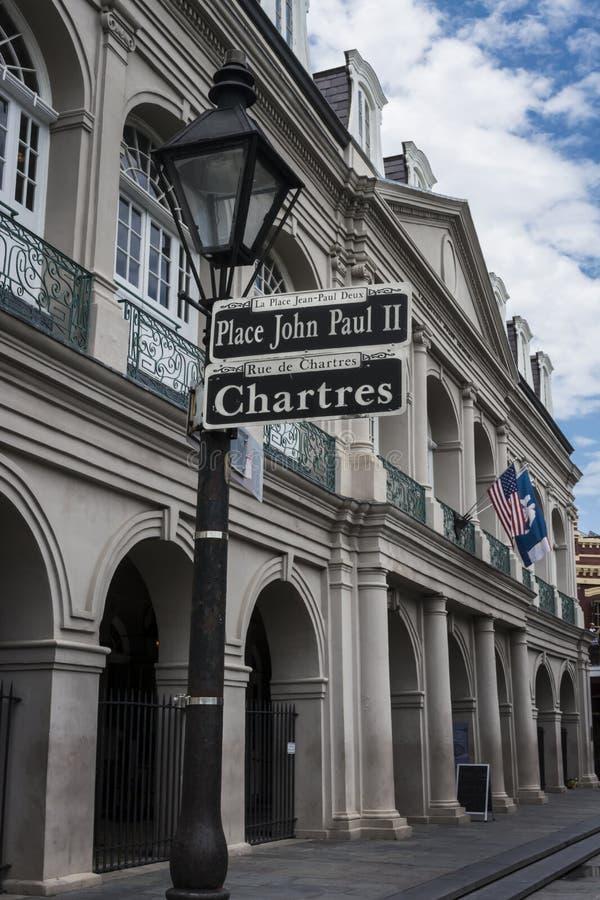 Tecken för gata New Orleans för fransk fjärdedel royaltyfri fotografi
