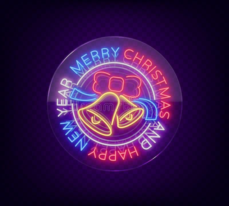 Tecken för glad jul och för lyckligt nytt år neon Neonsymbol för dina projekt för ` s för nytt år, hälsningskort, baner brigham vektor illustrationer