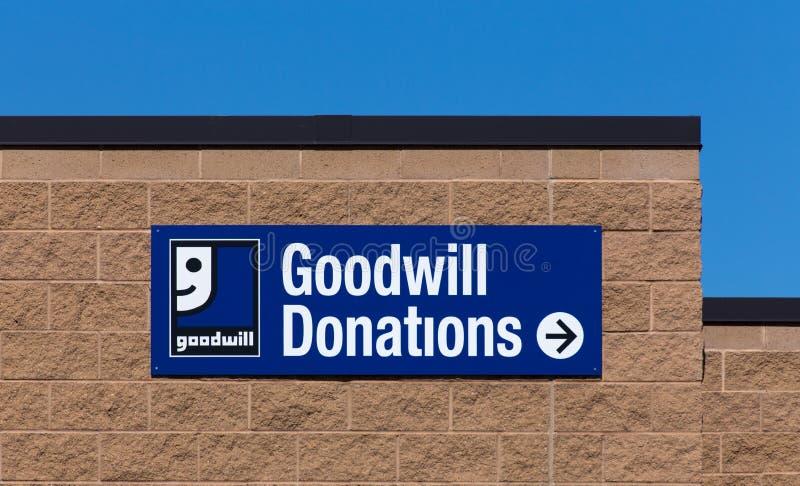 Tecken för goodwilllageryttersida arkivfoto