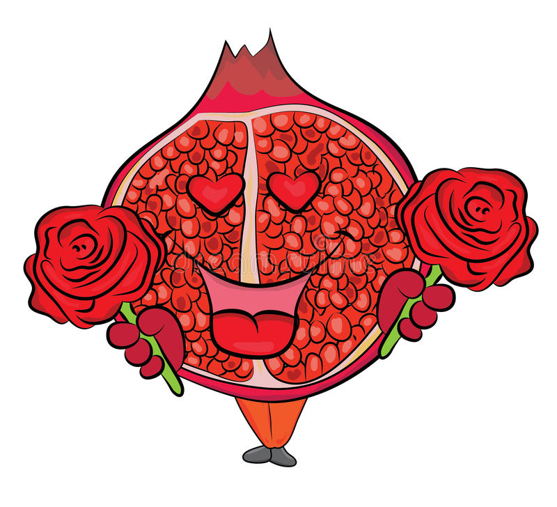 Tecken för granatäpplefrukttecknad film royaltyfri illustrationer
