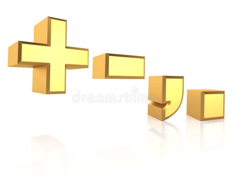 tecken för guld 3D royaltyfri illustrationer