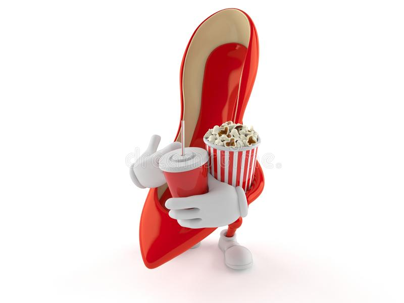 Tecken för höga häl som rymmer popcorn och sodavatten stock illustrationer