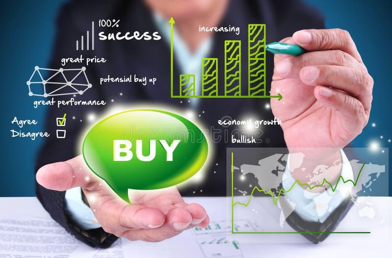 Tecken för handel för affärsmanuppvisningsbuy royaltyfri bild