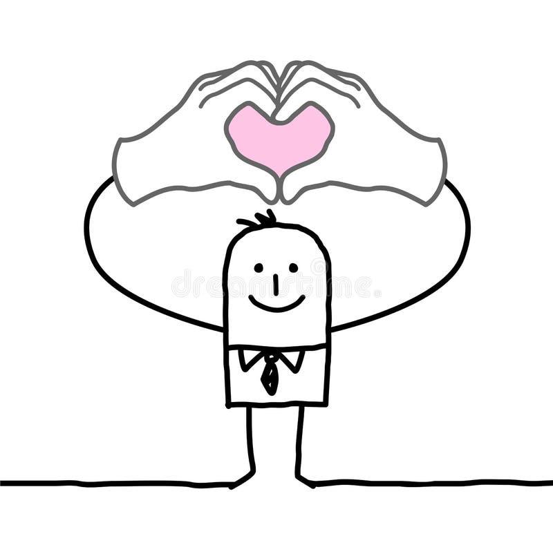 Tecken för hjärta för tecknad filmmandanande med hans fingrar royaltyfri illustrationer