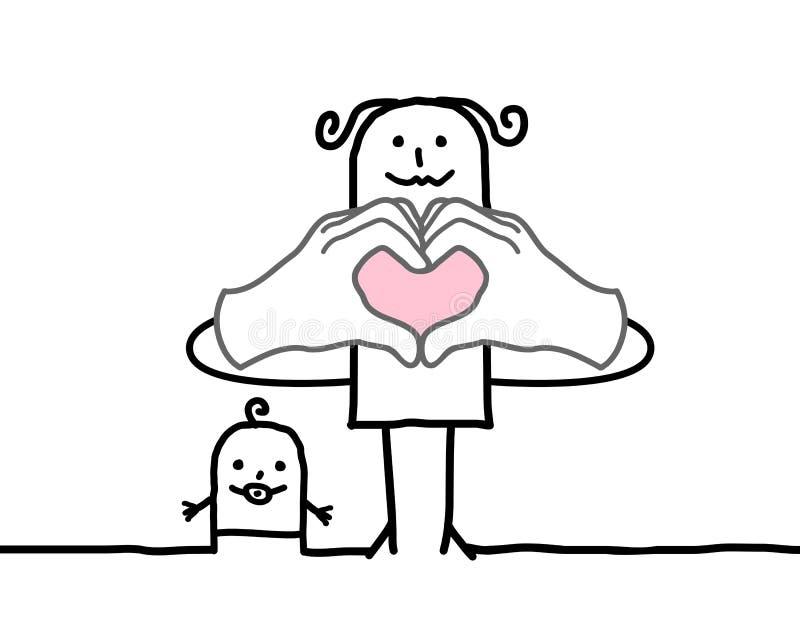 Tecken för hjärta för tecknad filmmoderdanande med henne fingrar royaltyfri illustrationer