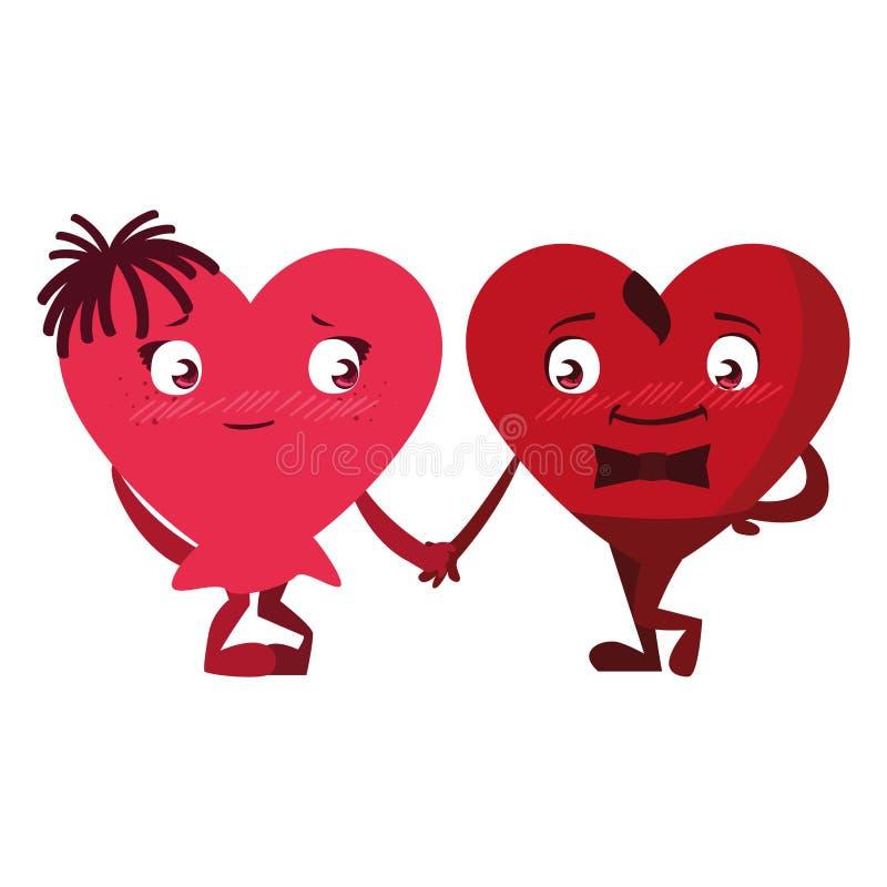 Tecken för hjärtaparemoticons royaltyfri illustrationer
