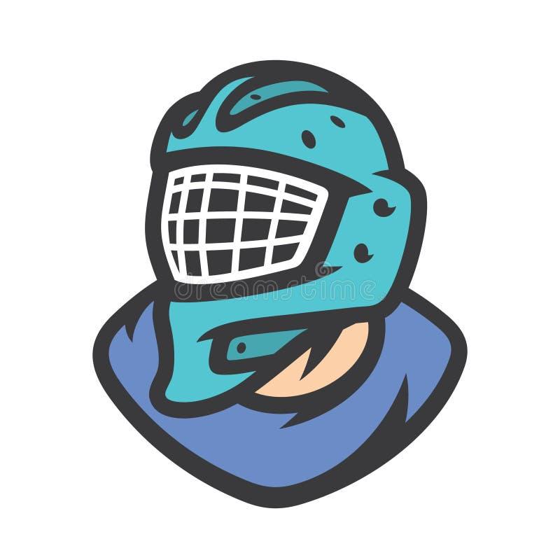 Tecken för hockeymålvaktvektor royaltyfri illustrationer