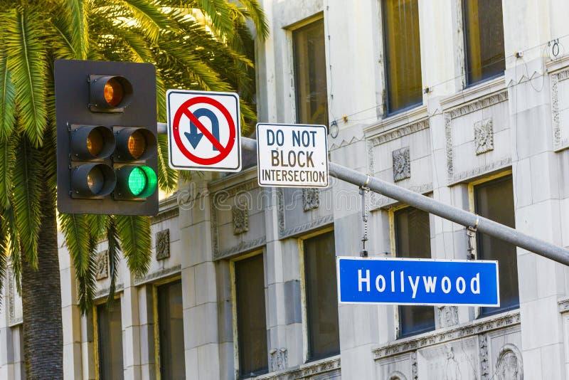 Tecken för Hollywood Blvdgata royaltyfri fotografi