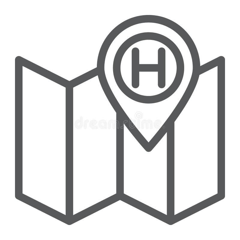 Tecken för för för för för hotelllägelinje symbol, navigering och lopp, översikt och stift, vektordiagram, en linjär modell stock illustrationer
