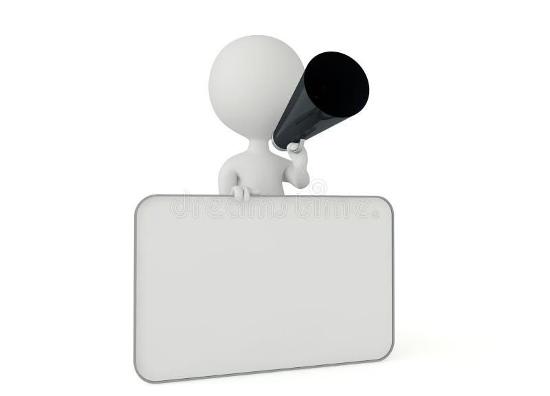 tecken för humanoid 3d med ett blankt kort stock illustrationer