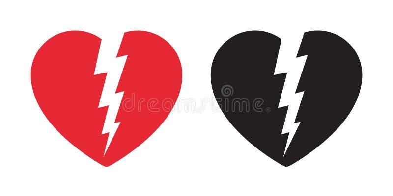 Tecken för illustration för tecknad film för symbol för åska för valentin för logo för hjärtavektorsymbol brutet pråligt ljust vektor illustrationer