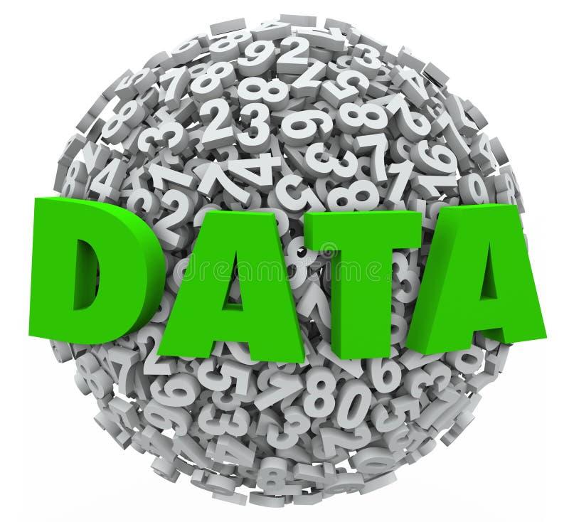 Tecken för information om forskningsresultat för sfär för nummer för dataord vektor illustrationer