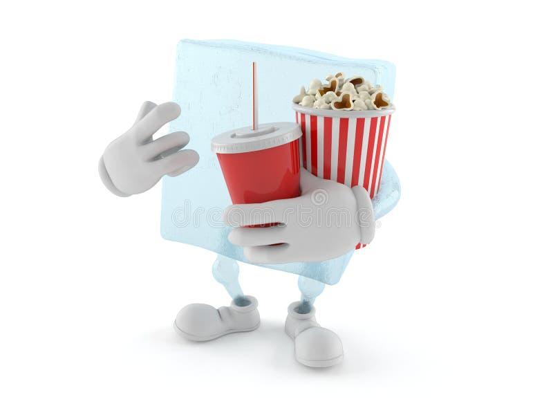 Tecken för iskub med popcorn och sodavatten vektor illustrationer