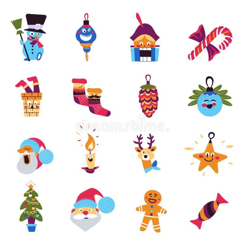 Tecken för julgran- och Santa Claus vinterferier vektor illustrationer