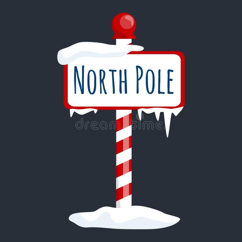 Tecken för julsymbolsnordpolen med snö och is, symbol för xmas för vinterferie royaltyfri illustrationer