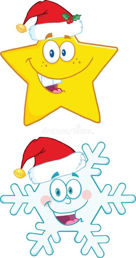 Tecken för julsymboltecknad film Isolerat på white royaltyfri illustrationer