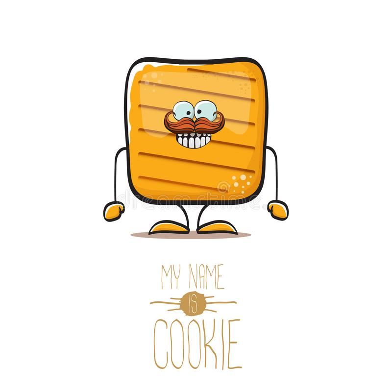 Tecken för kaka för chip för rolig smällare för hand för vektor som utdragen fyrkantig hemlagat isoleras på vit bakgrund Mitt nam stock illustrationer