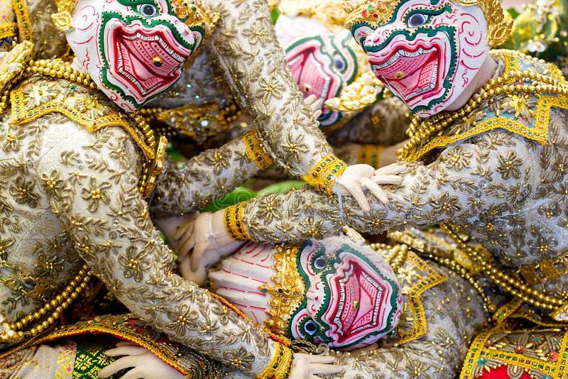 Tecken för Khon `-Hanuman ` i den Ramayana berättelsen arkivbild