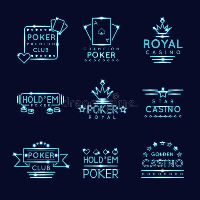 Tecken för klubba och för kasino för poker för tappningneonhipster stock illustrationer