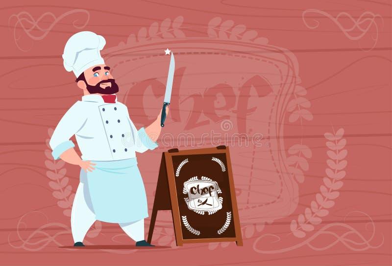 Tecken för kockkockHolding Knife Smiling tecknad film i den vita restauranglikformign över trätexturerad bakgrund vektor illustrationer