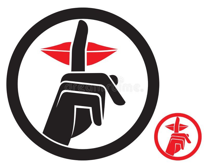 Tecken för kvinnadanandetystnad stock illustrationer