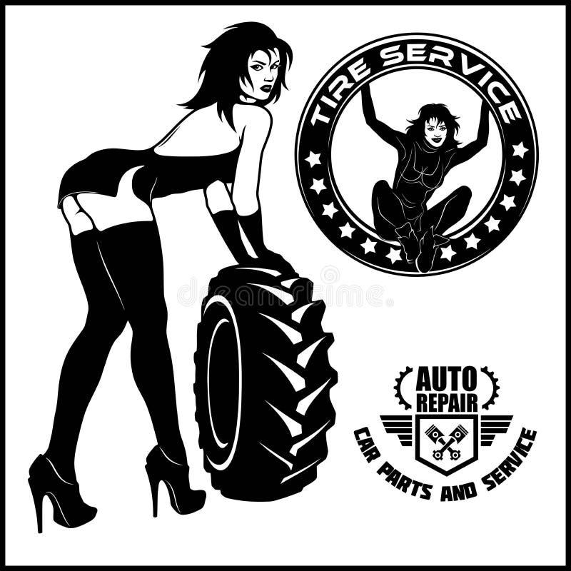 Tecken för kvinnamekanikertecknad film Passande station för gummihjul vektor illustrationer