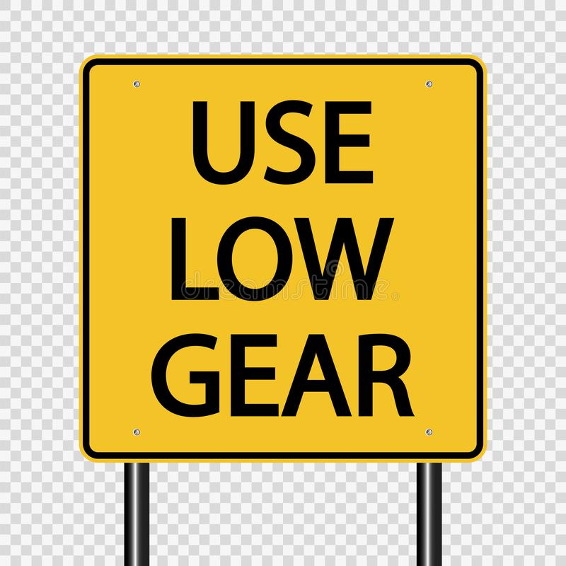 tecken för lågt kugghjul för symbolbruk på genomskinlig bakgrund vektor illustrationer