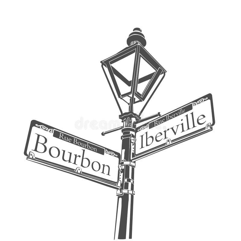 Tecken för lampa för gata för New Orleans kulturbourbon royaltyfri illustrationer
