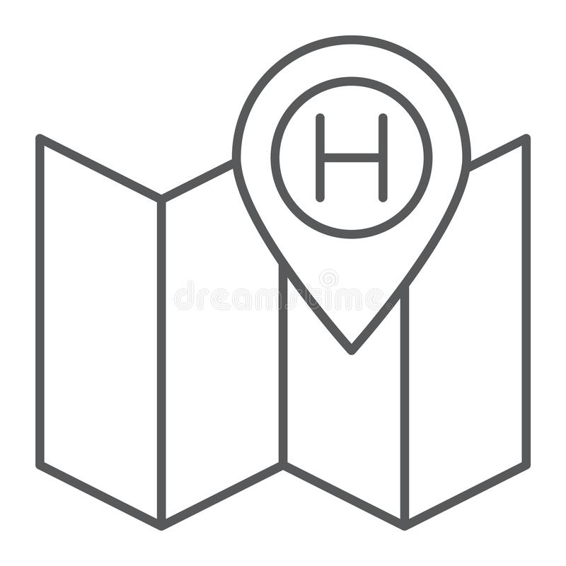 Tecken för linje symbol, för navigering och för lopp, för översikt och för stift för hotellläge tunt, vektordiagram, en linjär mo royaltyfri illustrationer