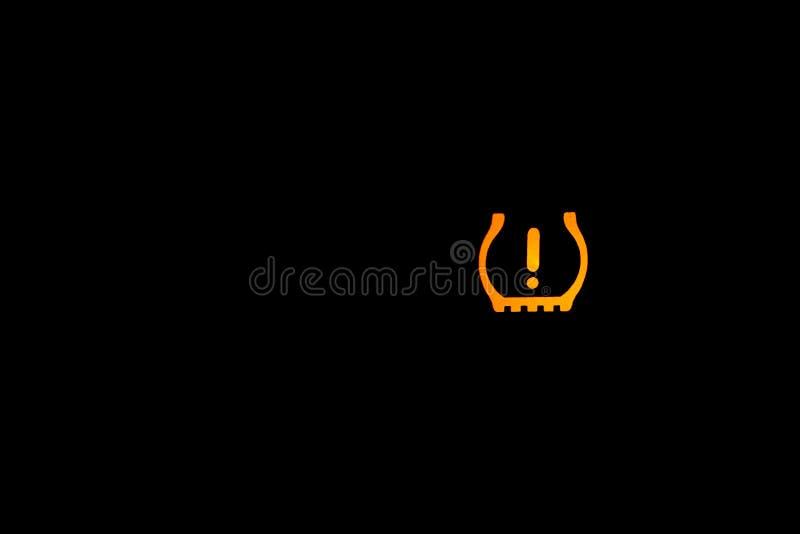 Tecken för ljus för varning för gummihjultryck, ljus indikator för bil, gul inomhus indikator royaltyfri fotografi