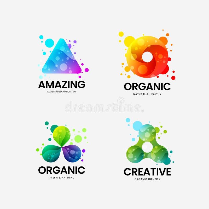 Tecken för logo för företags identitet för vektor för abstrakt triangel organiskt Uppsättning för logotypemblemillustration För e stock illustrationer