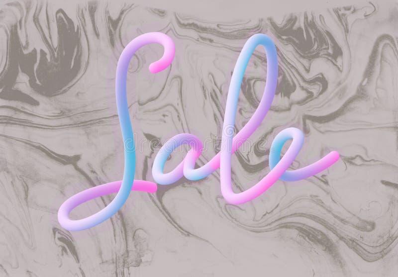 tecken för lutning 3d Calligraphic text SALE och marmoreratextur stilillustration Designbegreppet kan användas för annonsen, förs vektor illustrationer