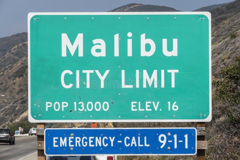 Tecken för Malibu stadsgräns arkivfoto