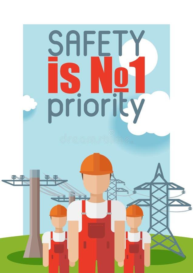 Tecken för man för elektricitetsvektorelektriker och för kulaenergi för makt industriell elkraft för elektrisk bakgrund för illus stock illustrationer