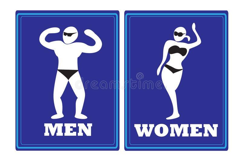 Tecken för mankvinnatoalett vektor illustrationer