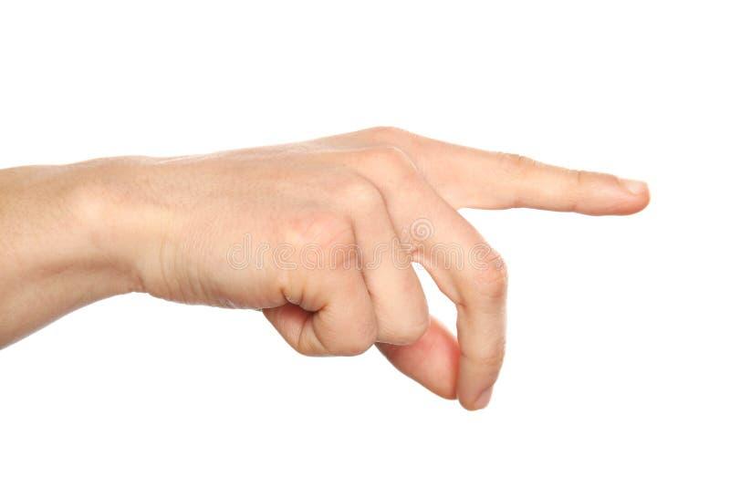 Tecken för manvisninghand på vit bakgrund, closeup royaltyfri bild