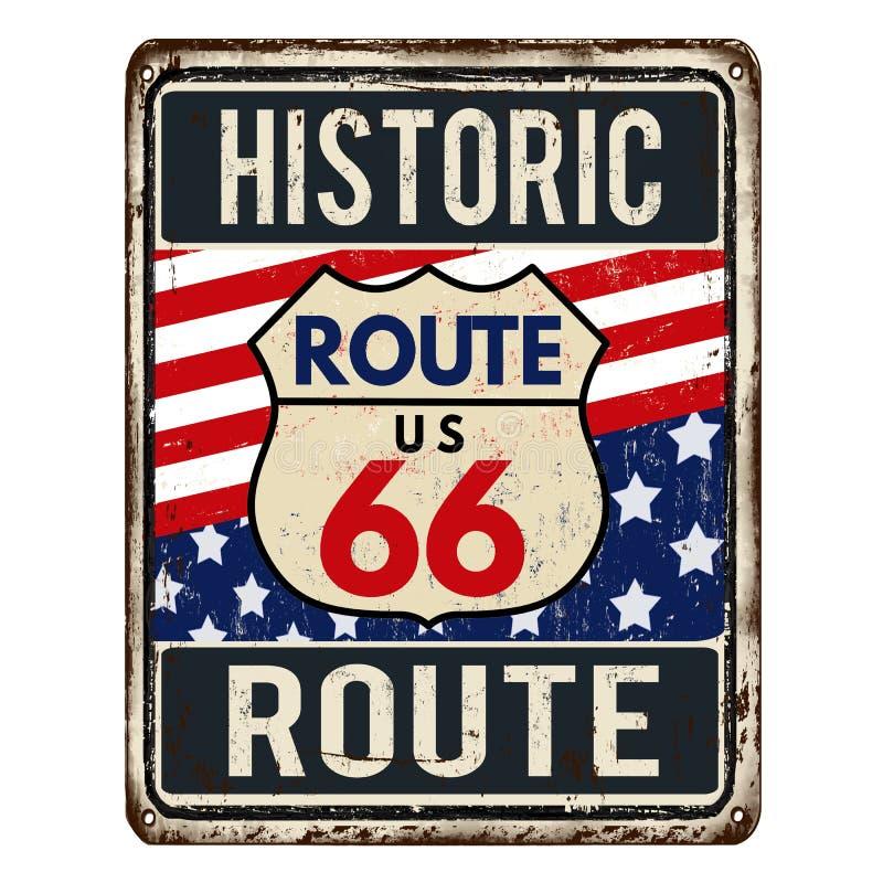 Tecken för metall för Route 66 tappning rostigt royaltyfri illustrationer