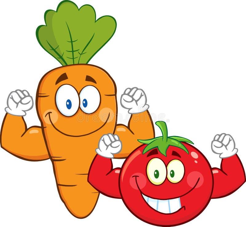 Tecken för morot- och tomattecknad filmmaskot som visar muskelarmar royaltyfri illustrationer